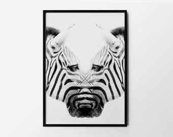 Zebra Print, Safari Wall Art, Animal Portrait, Wild Poster, Nature Art, Black and White, Photography, Natural Decor, Minimalist Art
