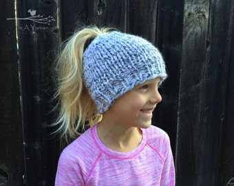 Messy Bun Hat, Pony Tail Beanie for Children and Adults, Available in Multiple Colors