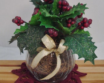Miniature Burgundy Holly Berry Arrangement with Doily
