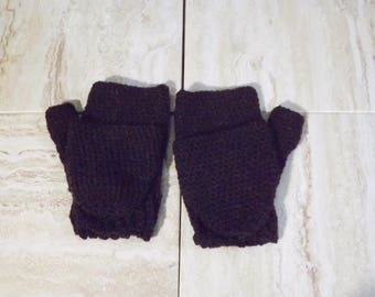 Lightweight Flip Top Gloves, Alpaca Merino Wool Acrylic Blend Fingerless Gloves, Brown Fold Down Mitts, Convertible Gloves, Texting Mitts