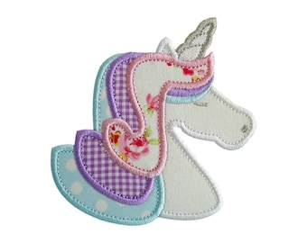 "Unicorn Applique Machine Embroidery Design Patterns in 3 sizes 4"", 5"" and 6"" magical rainbow pony."