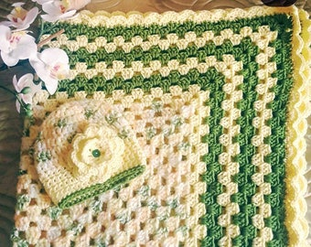 SOLD Newborn Baby Blanket with a Matching Hat (SOLD)