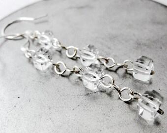 Long Clear Cube Silver Dangle Earrings Faceted Glass Geometric Square Cubist Modern Sleek Minimalist Wire Work Handmade Jewelry Canada
