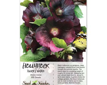 Black Hollyhock Seeds (Alcea rosea) Non-GMO Seeds by Seed Needs