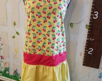 Medium Full Apron Yellow with Cherries and Polka Dots