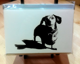 Dachshund blank notecards - 10 pack - black and white