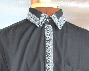 1980s Black dress shirt with white embroidered geometric and scroll border long sleeves size MEDIUM