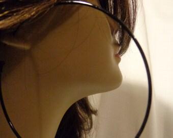 LARGE 4 inch BLACK hoop earrings Classic Hoop Earrings Black Earrings Super Thin Hoops