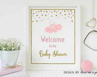 Tutu Baby Shower Decorations, Tutu Baby Shower Printable Welcome Sign, Baby Shower Welcome Sign, Tutu Welcome Sign - PP01