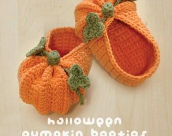 Crochet Pattern - Halloween Pumpkins Baby Booties Preemie Socks Newborn Shoes Baby Slippers Halloween Pumpkins Crochet Pattern (HPB01-P-PAT)