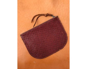 SALE • Limited Edition LUNA POUCH Two Sided • Red Perforated and Olive Green Leather •  Leather Case
