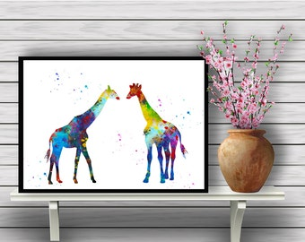 Two Colorful Giraffes, Animal, Watercolor Room Decor, African animals, Wall Hanging, Home Decoration, gift, Instant Download (384)