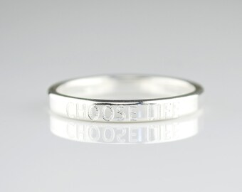 Engraved ring, name ring, stackable custom, personalized engraved ring, signet ring, Valentines gift sterling silver ring, coordinates ring
