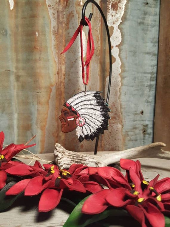 Leather Indian Chief Christmas Ornament, Leather Ornament
