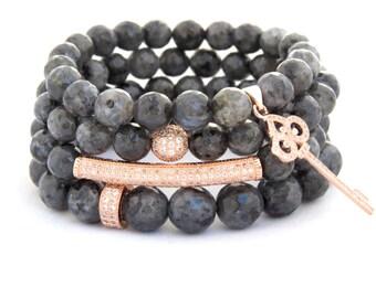 Beaded Bracelets - Beaded Bracelet - Rose Gold CZ Pave Labradorite  Beaded Bracelet Set of 4 Expressions Bracelets Gifts for Her Mothers Day