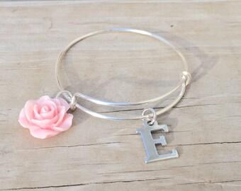 Personalized Bracelet  Kids Initial Bracelet  Adjustable Kids Bangle  Wedding Jewelry  Flower Girl Gifts