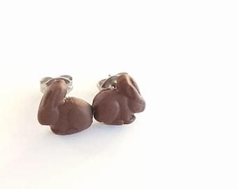 Choc Easter bunny studs -  polymer clay stud earrings - Bunny studs - Easter studs - earrings - foodie earrings - food jewellery