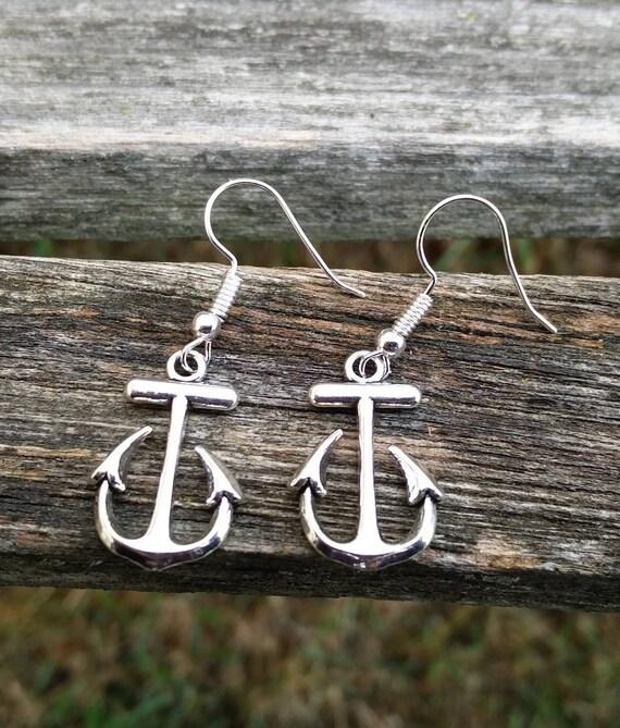Anchor Earrings, Silver. Wedding Gift, Bridesmaid, Mom, Anniversary Gift. Dangling