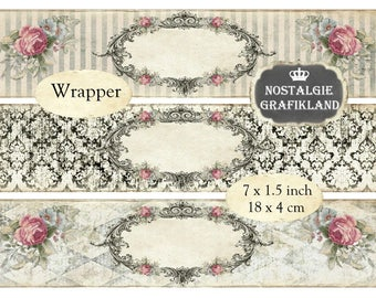digitale Frames Wrapper printable Soap Packaging Wraps Ornaments editable blank Labels Instant Download digital collage sheet E043