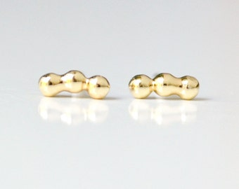 Tiny Gold Stud Earrings - 3 Dot Bar Second Hole Studs - Lightweight 5mm Cartilage Earings - Simple Everyday Studs - Hook & Matter Brooklyn