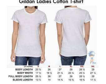 Gildan Size Chart for Women T-shirts and Tank Tops