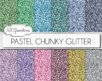 """Chunky glitter papers, """"PASTEL CHUNKY GLITTER"""" 12 shimmering colored glitter papers, chunky glitter digital papers in pastel colors"""