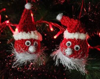 Set of Two Crochet Christmas Dwarfs, Elf Christmas Ornaments, Crochet Christmas Tree Red Elf Decoration, Red Dwarf Christmas Christmas Decor