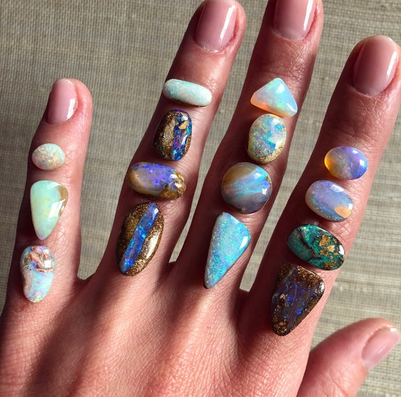 14K yellow, rose gold or Sterling silver rings with Australian crystal pipe opals