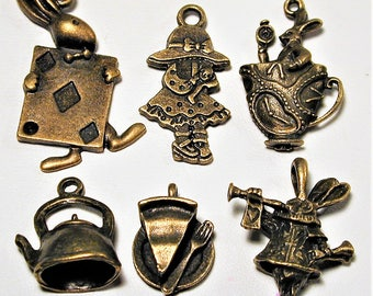 Alice in Wonderland Inspired Bronze Charm Collection  6pc C139