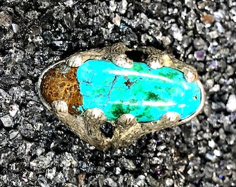 Turquoise ring cast sterling silver Size 7 1/2