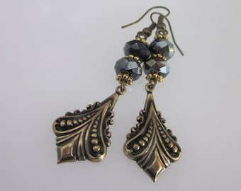 Brass and Crystal Earrings, Antiqued Gold and Black, Black Crystal Victorian Dangle,  Long Earrings