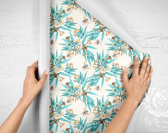 Peel and Stick Wallpaper, Contact Paper. Australian Watercolour Floral Botanical. Sample Swatch or Order by the Roll. Ships from USA