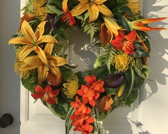 Yellow Stargazer Lily with Bird of Paradise and Orchids Tropical Wreath