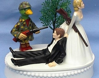 Wedding Cake Topper Duck Hunter Hunting Rifle Themed w/ Bridal Garter Water Fowl Bird Wildlife Bride Groom Reception Item Centerpiece Funny