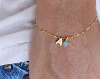 Tiny Initial Bracelet - Gold Letter Bracelet - Monogram Bracelet - Gold plated initial bracelet - Personalised bracelet