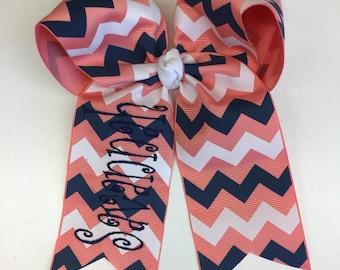Any Name, Hair Bows, Peach & Navy, Chevron Ribbon, Monogram Boutique, Great Gift, Girls Uniforms, Salmon Trendy, School Large, Ribbons,
