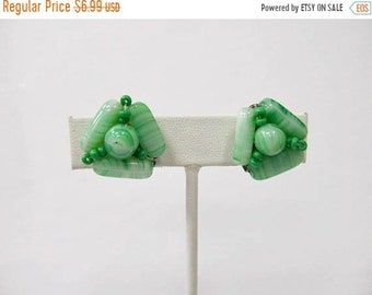 On Sale Vintage Green Glass Beaded Cluster Earrings Item K # 2094