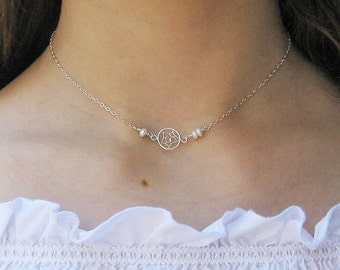 Dream Catcher Choker Necklace, Sterling Silver, White Freshwater Pearl Choker, Short Necklace, Bridesmaid Gift, June Birthstone