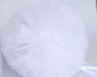 White tulle pompom / wedding party decorations pom poms