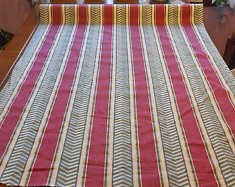 BURGUNDY Stripe & GREEN CHEVRON Cotton Fabric, Rare 1940s Designer Home Furnishing Decor, Orig Label, Chic Drapes Cushions Slipcover 5+ Yds