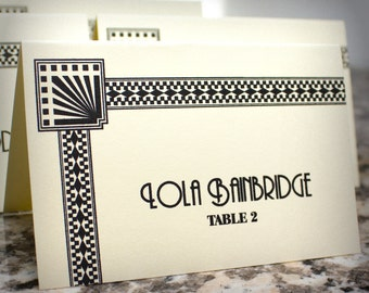 Art Deco Place Card Wedding Decor Historical Guest Name Seating Card Great Gatsby Placecard Reception Decor
