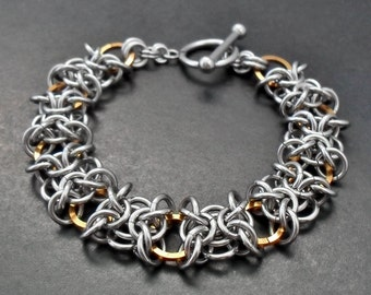 Stainless Steel & Bronze Orc Weave Chainmaille Bracelet - Two Tone Jewellery
