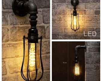 Black industrial iron pipe wall light with cage & Bulbs