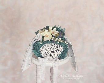 SALE Sitter bunny bonnet for 6-12 months old.Handmade bunny bonnet.Flower bunny bonnet.Tattered style bunny bonnet.Photo prop. Ready to send