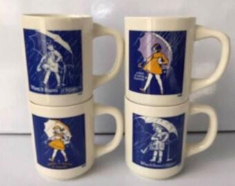 Morton Salt Cups Set of 4 When it Rains it Pours 1914,1921,1956,1968 original box