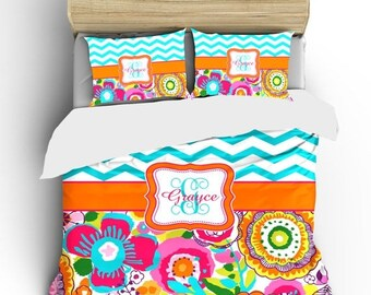 Memorial On Sale Custom Personalized Wildflowers and Chevron Bedding Ensemble -available Twin, TwXL, F-Queen or King Size - Your name- initi