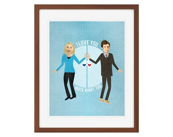 "Doctor Who print - Rose Tyler and the Tenth Doctor - ""I love you."""