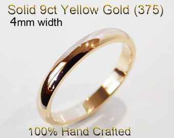9ct 375 Solid Yellow Gold Ring Wedding Engagement Friendship Half Round Band 4mm
