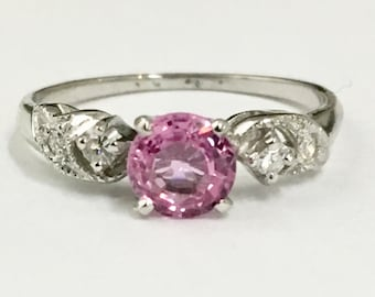 Vintage platinum diamond pink sapphire engagement ring