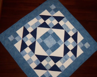 Blue Wall Hanging, Quilted Table Runner, Square Table Topper, 29x29 Inches, Jacobs Ladder, Machine Quilted